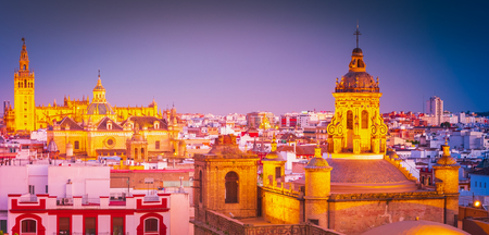 Seville, city skyline in the Old Quarter. Beautiful night photo of destination in Andalucia, Spain. 스톡 콘텐츠