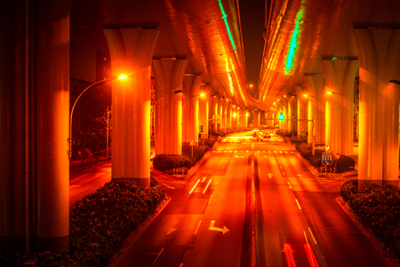 High-rise viaducts in the financial district of the city, night view of Shanghai, China.