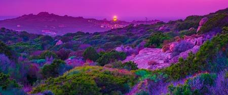 Stunning sunset landscape in northern Sardinia. Capo Testa, Santa Teresa of Gallura, Sardinia, Italy