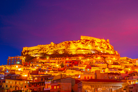 Picturesque medieval city of Castelsardo perched high above the sea on gulf of Asinara in north Sardinia. 写真素材