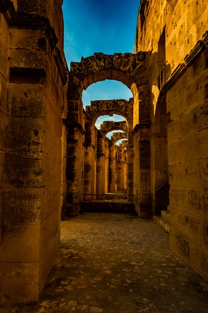 The Roman amphitheater of Thysdrus in El Djem or El-Jem, a town in Mahdia governorate of Tunisia. One of the main attraction in Tunisia and Northern Africa.