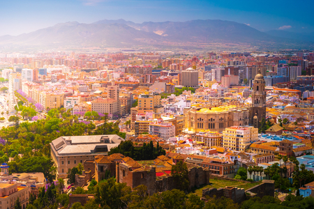 Beautiful aerial view on the Malaga center with cathedral on a sunny day. Malaga, Costa del Sol, Andalusia, Spain. Stock fotó