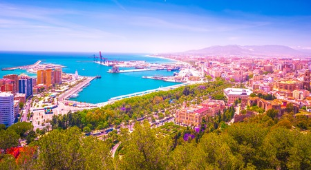 City Council Building in Malaga. Aerial view of Malaga taken from Gibralfaro castle including port of Malaga, Alcazaba castle and the Cathedral, Andalucia, Spain. Reklamní fotografie