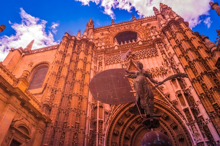 Portal of the Cathedral of Seville in Andalusia, Spain. Beautiful colorful image of the landmark in Spain.
