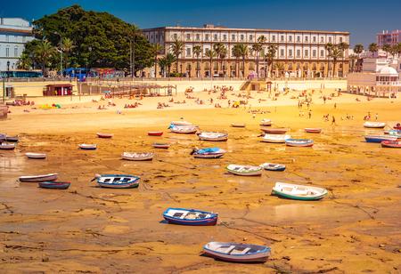 Panoramic view of La Caleta Beach in Cadiz, Spain, in the Mediterranean sea. Beautiful landscape in Andalucia.