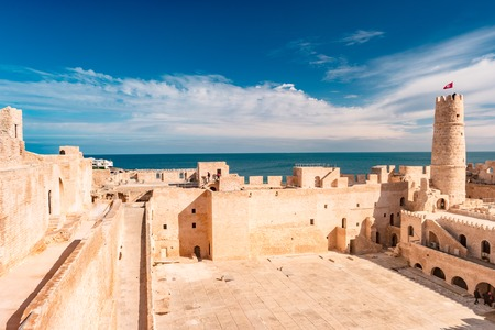 The medieval fortress with its large courtyard is one of the main attractions in Northern Africa, Monastir, Tunisia. Reklamní fotografie