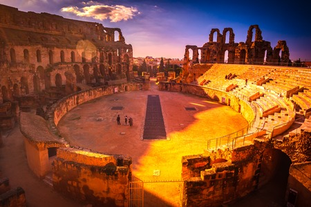 The Roman amphitheater of Thysdrus in El Djem or El-Jem, a town in Mahdia governorate of Tunisia. One of the main attraction in Tunisia and Northern Africa. Stock Photo