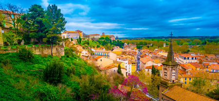Aerial top view of Beziers town architecture from above, South France.