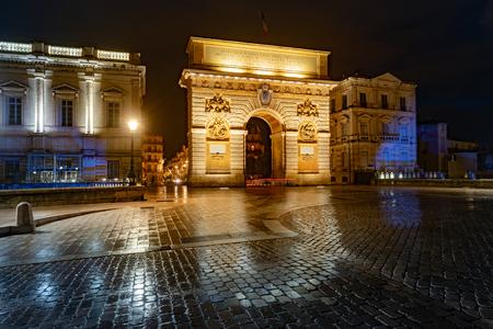 Porte du Peyrou - triumphal arch in Montpellier. Montpellier, Occitanie, France.