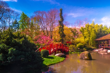 Japanese garden in Toulouse city park, France. Nice outdoor scene. Stock Photo