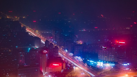 Beijing. Cityscape image of Beijing downtown during twilight blue hour. Abstract urban night light bokeh defocused background Reklamní fotografie