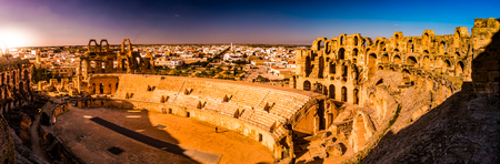 The beautiful amphitheatre in El Djem reminds the Roman Colosseum, and is one of the most popular landmarks in Tunisia.