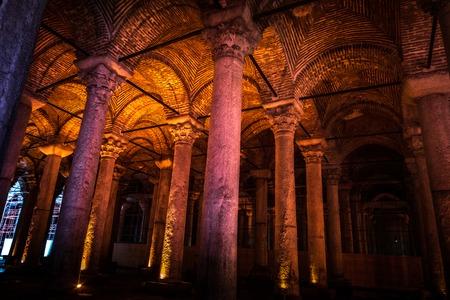 The Basilica Cistern - underground water reservoir build by Emperor Justinianus in 6th century, Istanbul, Turkey
