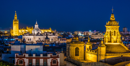 Seville, city skyline in the Old Quarter. Beautiful night photo of destination in Andalucia, Spain. Reklamní fotografie