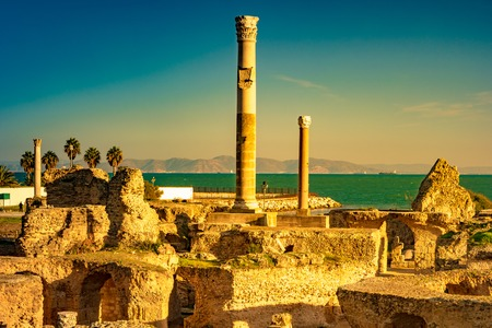 Colorful sunset in Carthage. Baths of Antonius in Carthage, near Tunis, Tunisia Reklamní fotografie