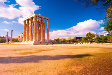 The Temple of Olympian Zeus or the Olympieion is a monument of Greece and a former colossal temple in the centre of the Greek capital city Athens. Stock Photo