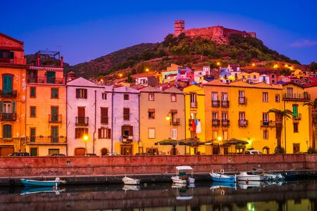 View of the colorful houses and castle in the  in the city of Bosa, Sardinia, Italy. Stock fotó