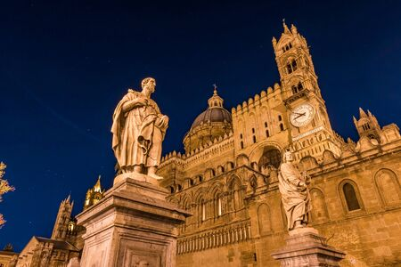 Beautiful night view of the historical cathedral of Palermo in golden light