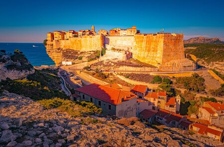 Image of Bonifacio port and Citadel in South of Corsica. Stock fotó
