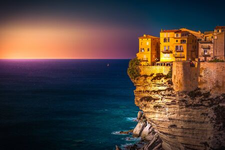 Sunset over the Old Town of Bonifacio, South Coast of Corsica Island, France