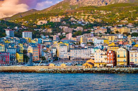 Beautiful panorama of city of Bastia in Corsica. Aerial skyline view of the capital of the island Corsica.