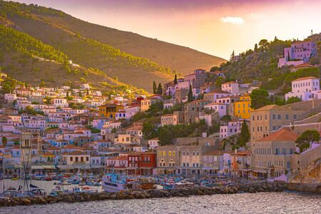 Panoramic view on greek island Idra, Hydra at summer day. Beautiful photo of famous destination in Greece.