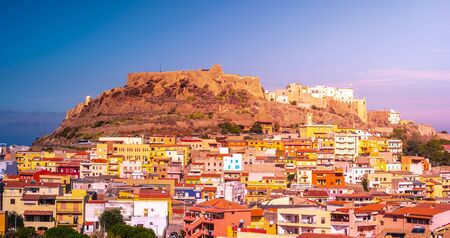 The picturesque town of Castelsardo with colorful houses