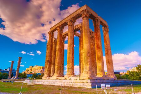 The Temple of Olympian Zeus or the Olympieion is a monument of Greece and a former colossal temple in the centre of the Greek capital city Athens. Reklamní fotografie