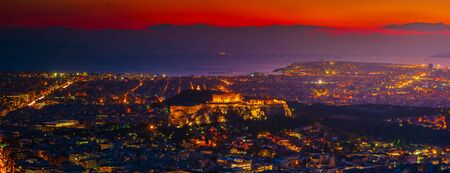Athens skyline sunset viewed from Mt Lykavitos with Acropolis, Greece. Beautiful cityscape of Athens. Reklamní fotografie