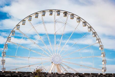 The Ferris wheel in the promenade of the Old Port in the city center of Marseilles, France.
