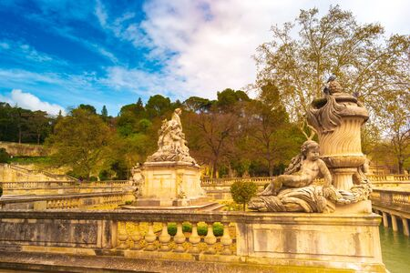 A beautiful fountain in the Jardin de la fontaine in Nimes France
