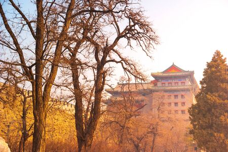 View of Dongbianmen Waich Tower in Beijing, China.