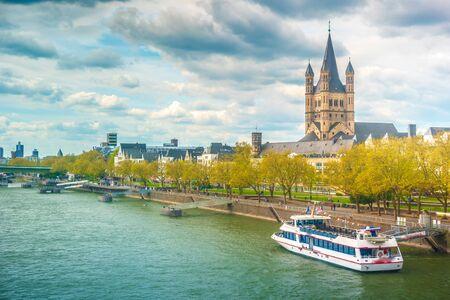 Cologne, Germany. Pictoresque view of Cologne city and The Church of St. Martin.