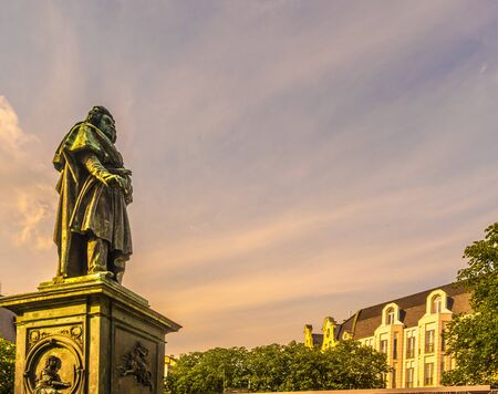 Beethoven Monument in Bonn, Germany.It was unveiled on 12 August 1845, in honour of the 75th anniversary of the composers birth. Stock fotó