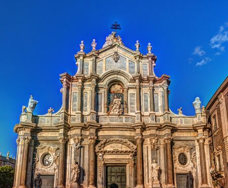 Facade of Cathedral of Santa Agatha, Catania duomo in Catania in Sicily, Italy.
