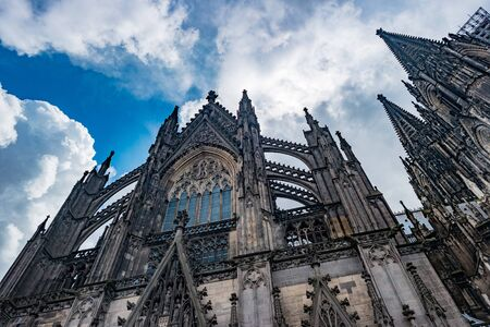 Cologne Cathedral.  Roman Catholic Gothic cathedral in Cologne. Gorgeous medieval architecture of Germany.