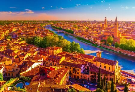Panoramic view of Verona, Italy with the Santa Anastasia Church and the Lamberti Tower. Beautiful photo of italian landmarks