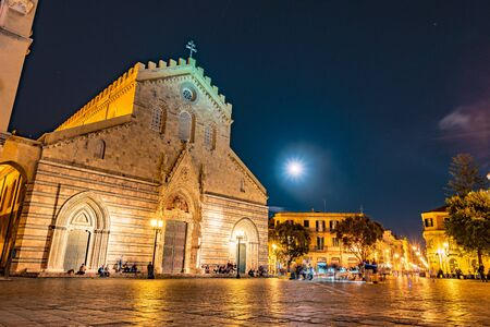 Messina cathedral by night. Sicily. Gorgeous medieval architecture of the Duomo in Messina. Stock fotó