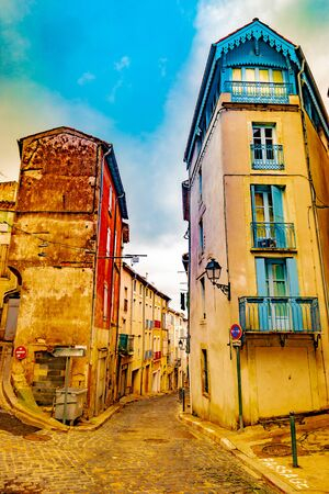 Impressive architecture of streets of french town Beziers.