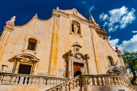 Detail of beautiful San Giuseppe Church on Piazza IX Aprile square in the city center of Taormina, Sicily, Italy. This baroque style church is a popular tourist attraction Stock fotó