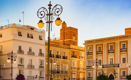 View of a street in spanish city of Cadiz, beautiful historical architecture in the famous city of Spain, Andalusia. 写真素材