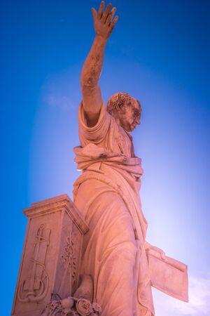 The statue of Grand Duke Ferdinand III on Piazza della Republica in Livorno, Italy. Livorno is one of the small coastal fortresses protecting Pisa.