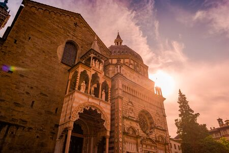 Church Basilica Santa Maria Maggiore in Bergamo, Citta Alta, Italy. Beautiful medieval architecture of Tuscany.