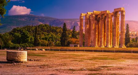 Ancient Temple of Olympian Zeus , Athens, Greece. Gorgeous ruins of Ancient Greek architecture.