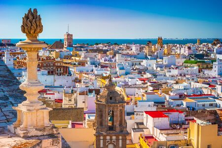 Aerial view of the roofs of Cadiz, Spain, from the belfry of its Cathedral. Beautiful photo of andalusian architecture.