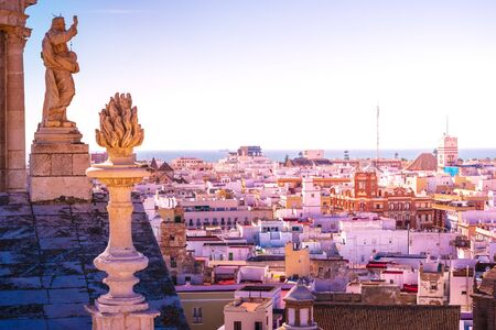 Aerial view of the roofs of Cadiz, Spain, from the belfry of its Cathedral. Beautiful photo of andalusian architecture. Stockfoto