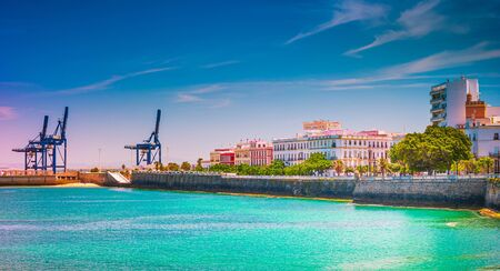 Panorama of the historical part of Cadiz, Spain, with the port of modern city visible in distance. Stockfoto