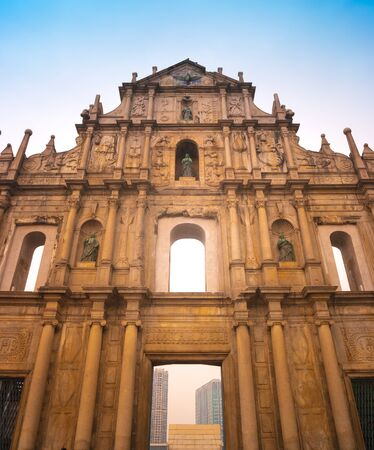 Ruins of St.Paul Church with dramatic sun light, famous landmarks and world cultural heritage in the historical centre of Macao or Macau, China