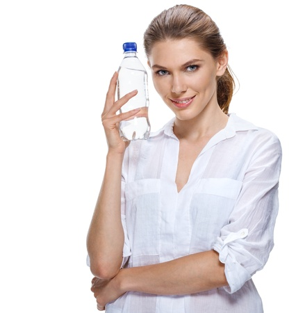 promoter: Smiling beautiful woman with bottle of water isolated on white Stock Photo