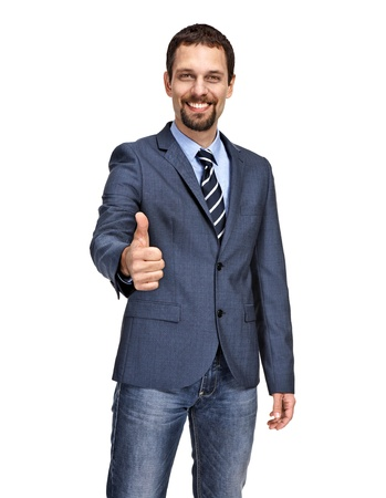 modesty: Handsome business man giving you thumbs up cheering
